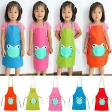 Child Waterproof Apron Cartoon Frog Printed Painting Cooking Craft Art Gifts YU1