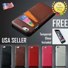 Leather Pouch Credit Card Wallet Case Cover for Apple iPhone 6 6S Plus & GLASS