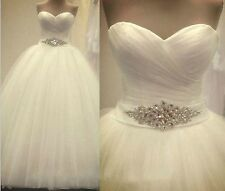 New Strapless White Wedding Dress Bridal Gown Custom Size 6/8/10/12/14/16/18+