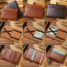 Chic Mens Leather Magic Money Clip Slim Wallet ID Credit Card Holder Case