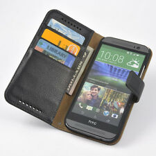 For HTC One M8 GENUINE LEATHER Wallet Card Holder Solt+Pouch Stand Flip Case
