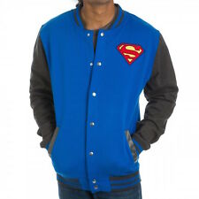 DC Comics Superman Patch Shield Blue Soft Letterman Jacket Gray Tapered Sleeves