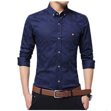 Mens luxury stylish casual dress slim fit  Shirts Long Sleeve Casual Dress Shirt