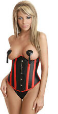 Ladies Black Satin Underbust Corset Bustier Costume matching G String Costume