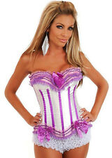 White Pink Lace Up Boned Corset Bustier Costume Fancy Dress Up with G string