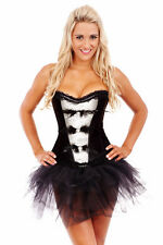 Burlesque Corset Bustier Boned Dress Up Costume Showgirl  Black & White Feathers