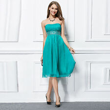 Stock beaded chiffon cocktail party evening prom women Short Bridesmaids dresses