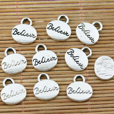 Charm Retro Silver Believe Pendant For Jewelry Making 10mm 50Pcs