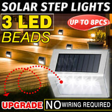 Outdoor Solar LED Deck Garden Stair Step Lights Stainless Steel Wall Pathway
