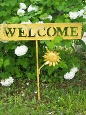 Welcome Tin Sign for your Home or Garden Decor - Metal Yard Art Stake