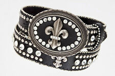 Western LEATHER Bling Belt Fleur De Lis Cross Conchos Rhinestone Cowgirl Rodeo