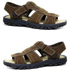 Mens Leather Velcro Strap Walking Summer Beach Mules Gladiator Sandals Shoe Size