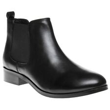 New Womens SOLE Black Bertha Leather Boots Ankle Elasticated