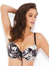 New Panache Claudette Womens Balcony Bikini Top Black Ivory RRP £31 30D