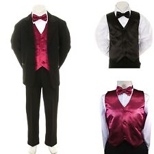 New Baby Boy Formal Wedding Black Suit Tuxedo + Extra Vest Bow Tie S M L XL -4T