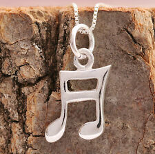 925 Sterling Silver Music Note Pendant Chain Necklace Handcrafted With Gift Box