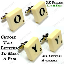 SCRABBLE TILE CUFFLINKS PERSONALISED FUNKY QUIRKY FUN RETRO BIRTHDAY MENS GIFT