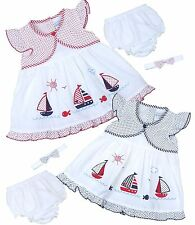 BabyPrem Baby Girls Clothes Nautical Summer Dress Frilly Knickers & Headband