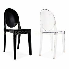 Set of 2 Philippe Starck Style Victoria Ghost Transparent Dining Side Chair