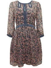 RRP £35 Ex M&S New Grey/Peach Floral Chiffon fully lined Vintage Tea Dress/Tunic