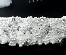 White First Holy Communion Catholic Ceremony Pearl Rhinestone Headband & Veil
