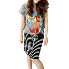 Scoop Neck Letters Pattern Shirt w Striped Tank Dress for Lady