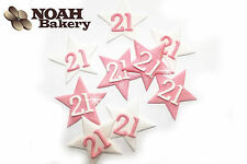 Sugar Glittering Stars With Numbers Edible birthday Cake Cupcake Toppers