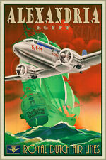 KLM Alexandria Poster Art DC3 Royal Dutch Air Lines Flying Dutchman Print 282