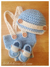 Baby Blue & Cream Suspenders Diaper Cover Newsboy Hat & Loafers Photograpy Prop