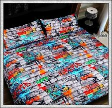 GRAFFITI Grey Orange Red Aqua Green * QUEEN DOUBLE SINGLE QUILT DOONA COVER SET