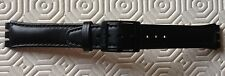 GENTS EXTRA LONG GENUINE SWATCH BLACK LEATHER STRAP 17MM ENDS