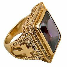New Mens CLERGY BISHOP RING (Subs710P), Gold Plated/Sterling Silver, Christian
