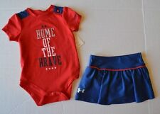 Baby Girls Under Armour Heat Gear Patriotic 4th of July Skirt Shirt Outfit Set