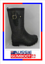 Gumboots Ladies Mid Length Sparkle Size 5 6 7 8 9 10 11 Buckle Wellies Women New