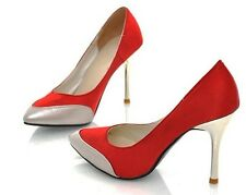 Sexy Women's Fashion Shoes Red Satin Gold Capped Semi-Pointed Toe High Heels