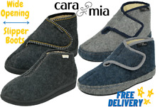 Ladies Wider Fit Orthopaedic Easy fastening warm lined Velour Bootie Slippers