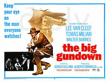 REPRO DECO AFFICHE CINEMA THE BIG GUNDOWN VAN CLEEF SUR PANNEAU MURAL BOIS HDF