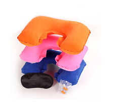 3in1 Travel Sleep Set Inflatable U-Shaped Neck Pillow Eye Mask Ear Plugs Camping