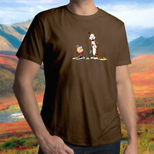 Calvin and Hobbes Gun Fight Cute Friendship Cool Mens Unisex Crew Neck T-Shirt