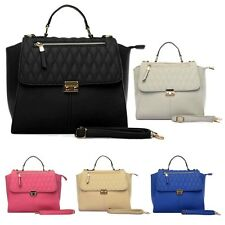 Ladies Faux Quilted Leather Handbags Black Blue Pink Grey Shoulder Bag