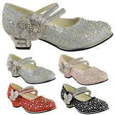 CHILDRENS GIRLS KIDS MID LOW HIGH HEEL DIAMANTE PARTY SHOES BRIDAL SANDALS SIZE