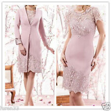 Knee Length Mother Of  Bride Evening Prom Party Mum Dress Free Jacket Plus Size