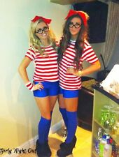 WOMENS WALLY RED AND WHITE FANCY DRESS COSTUME WORLD BOOK DAY WHERES 8-18