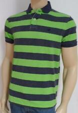 American Eagle Outfitters AEO Navy Green Rinse Stripe Mens Polo Shirt New NWT
