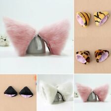 Cosplay Evening Party Anime Costume Cat Fox Long Fur Ears Hair Clip 5 Colors