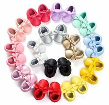 Baby Soft Sole suede/Leather Shoes Infant Boy Girl Toddler Moccasin 0-18m AS