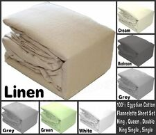 King Queen Double King Single 100% Egyptian Cotton Flannelette Sheet Set Cases