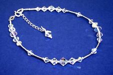 .925 Sterling Silver Crystals AB Handmade Anklet made with SWAROVSKI ELEMENTS