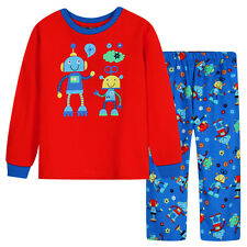 NWT JUNIOR BOYS ROBOT KNIT TOP+FLANNEL PANT PJ SET, RED/NAVY, SIZE3-7, RRP$37.95