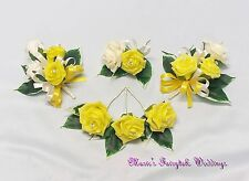WEDDING FLOWERS BUTTONHOLE CORSAGE PACKAGE YELLOW ROSES DIAMANTE CRYSTAL PEARL